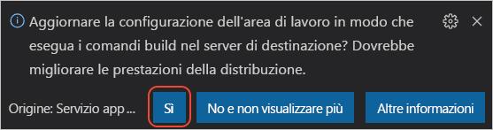 Richiesta di aggiornamento della configurazione nel server Linux di destinazione